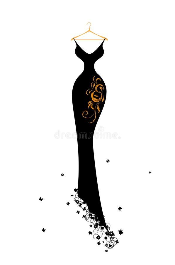 Preto do vestido de noite em ganchos ilustração royalty free