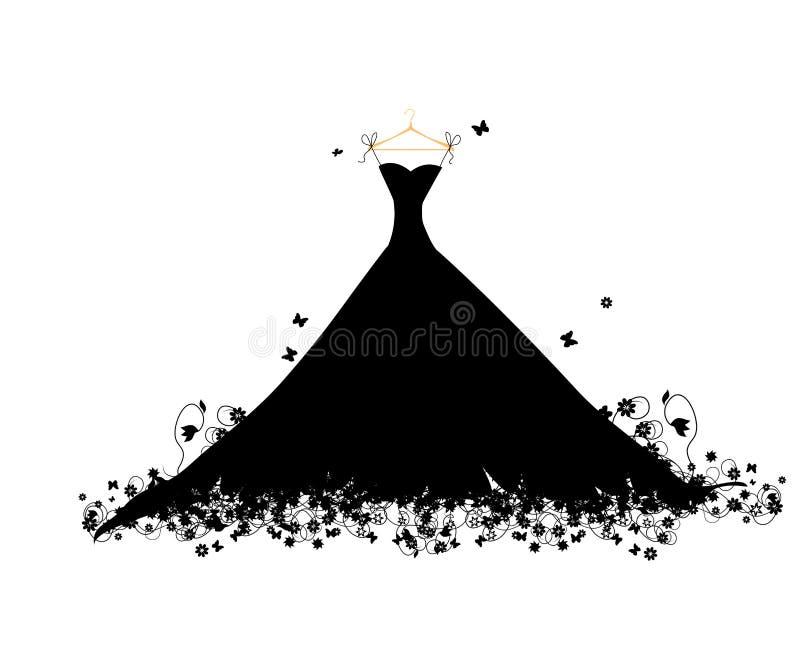 Preto do vestido no hander ilustração royalty free