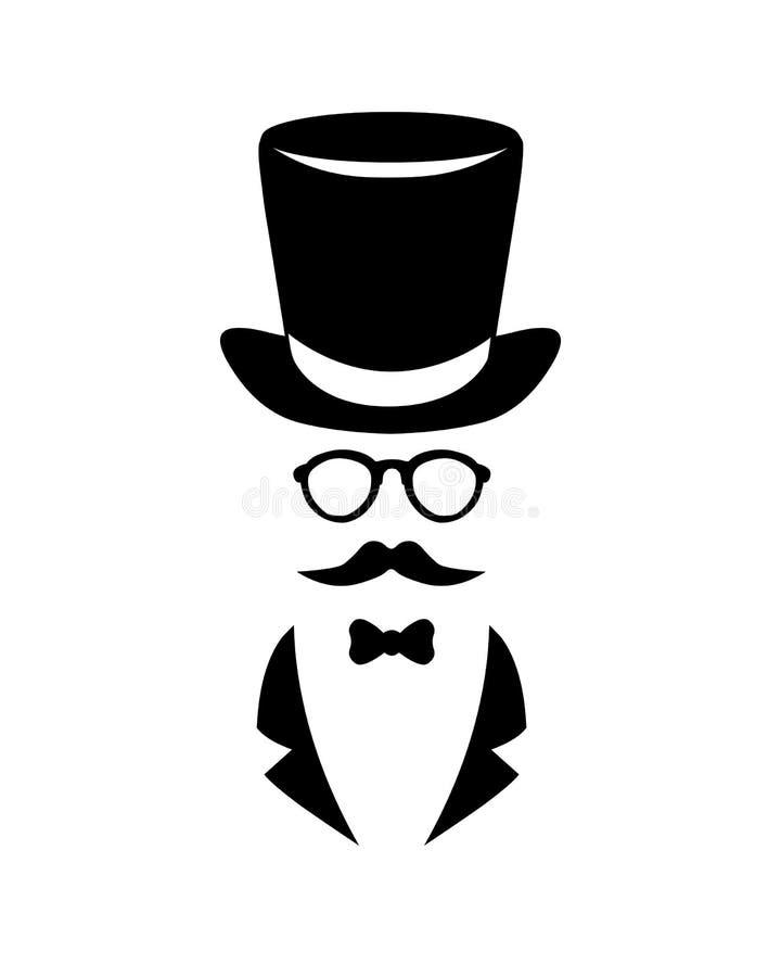 Preto do vetor na ilustração branca cavalheiro ilustração do vetor