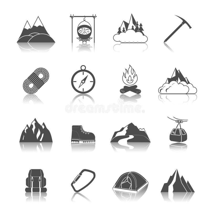 Preto dos ícones da montanha ilustração stock