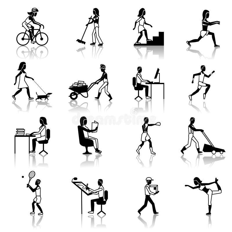 Preto dos ícones das atividades físicas ilustração stock
