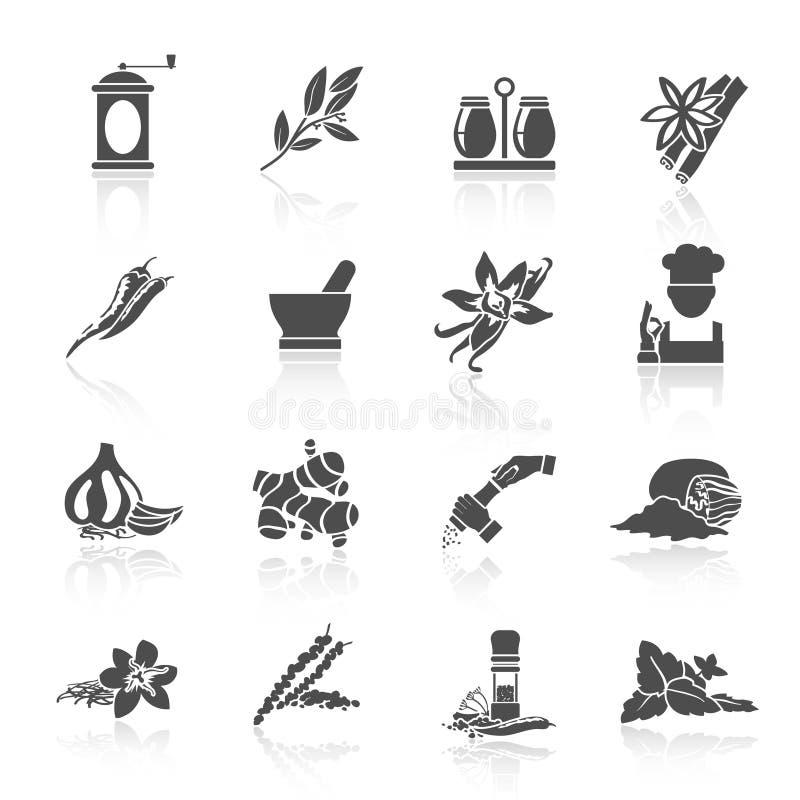 Preto dos ícones das especiarias ilustração royalty free