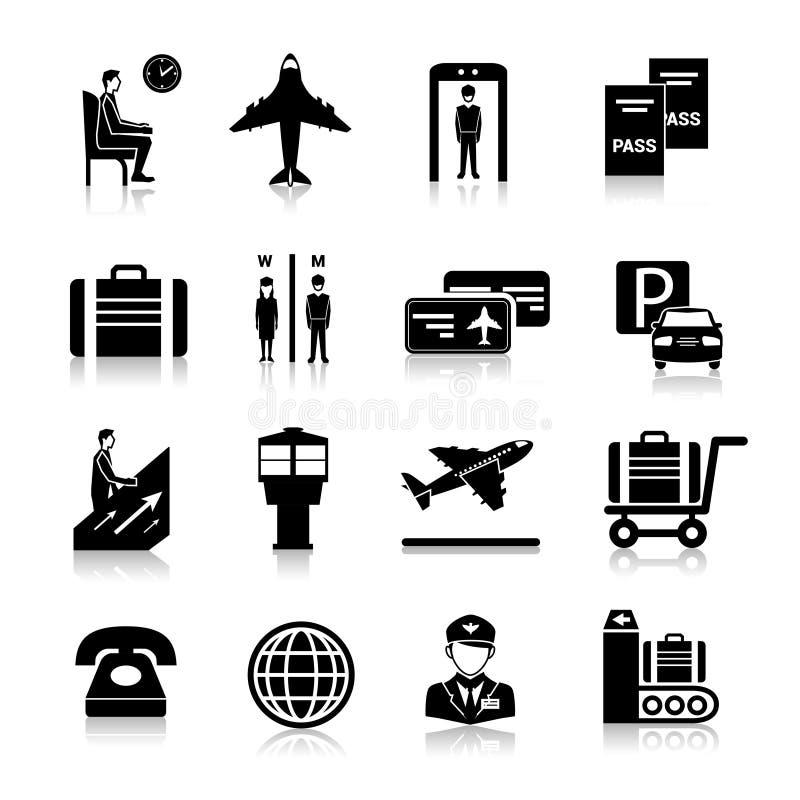 Preto dos ícones do aeroporto ilustração stock