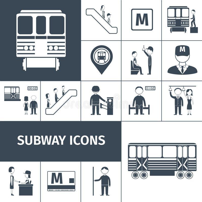 Preto dos ícones do metro ilustração stock
