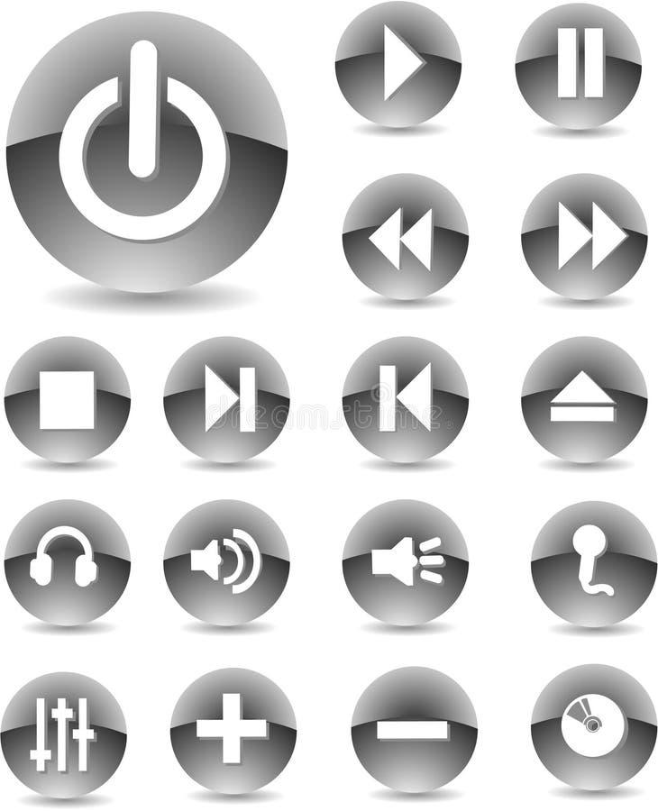 Preto dos ícones do Web ilustração do vetor