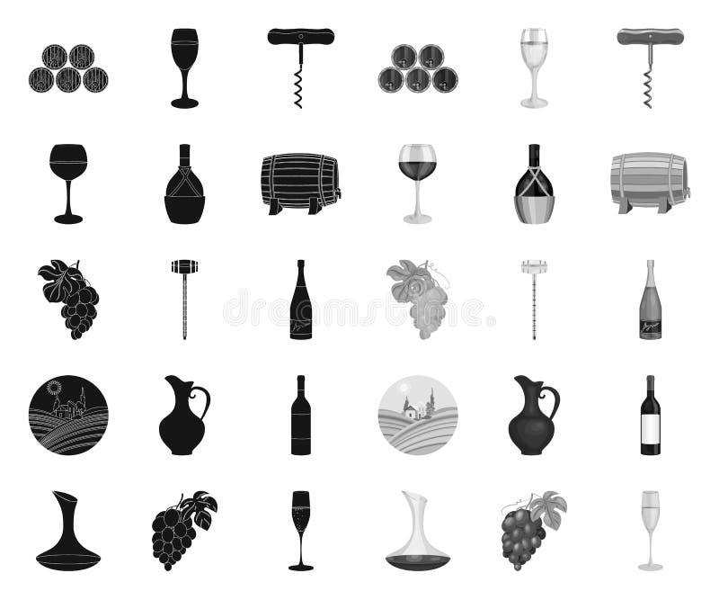 Preto dos produtos de vinho mono ?cones em cole??o ajustada para o projeto O equipamento e a produ??o de vinho vector a Web conse ilustração do vetor
