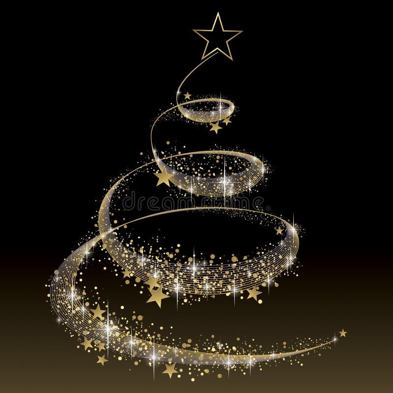 Preto e árvore de Natal do ouro ilustração do vetor