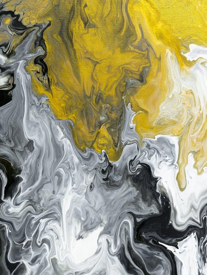 Preto e branco com backgroun pintado à mão do sumário do mármore do ouro ilustração royalty free