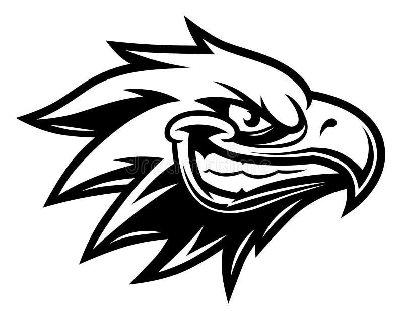 Preto e branco principal de sorriso da águia ilustração stock