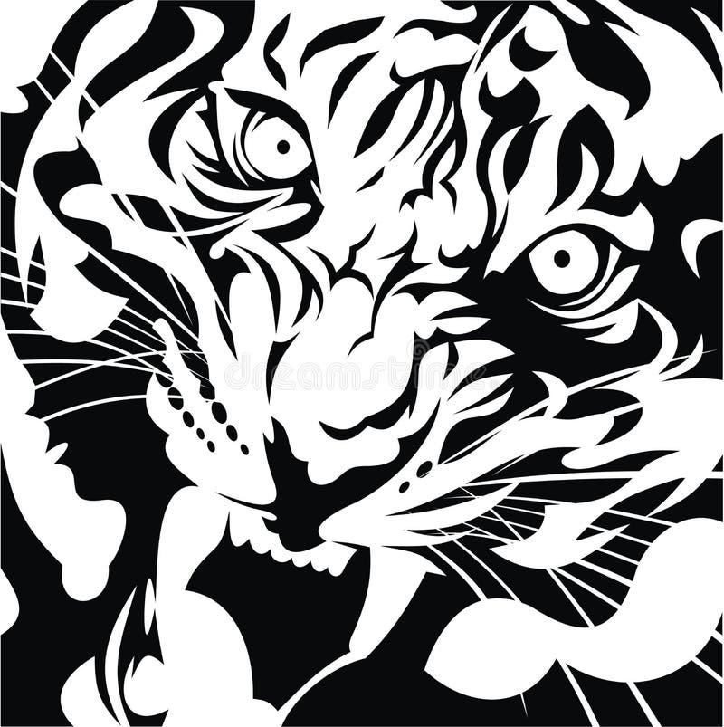 Preto e branco principal do tigre ilustração royalty free