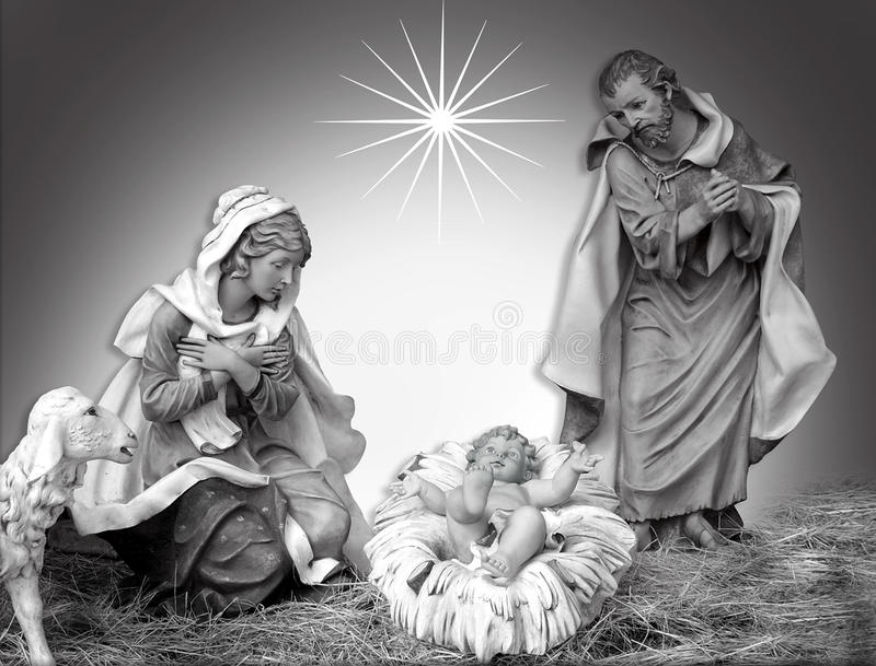 Preto e branco religioso da cena do Natal da natividade ilustração stock