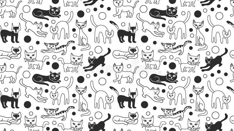 Preto e branco sem emenda bonito do teste padrão dos gatos do esboço da garatuja isolado Cartaz do gatinho, molde do fundo da ban ilustração royalty free