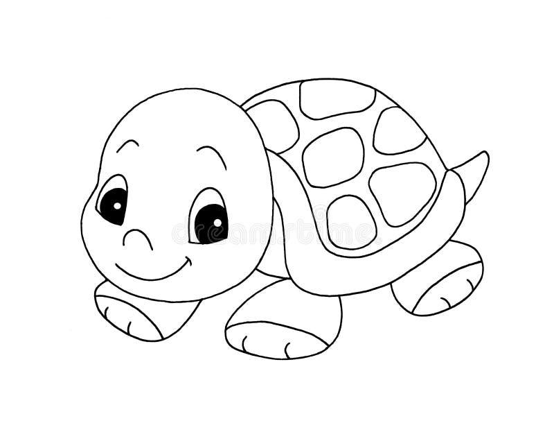 Preto e branco - tartaruga bonito ilustração do vetor