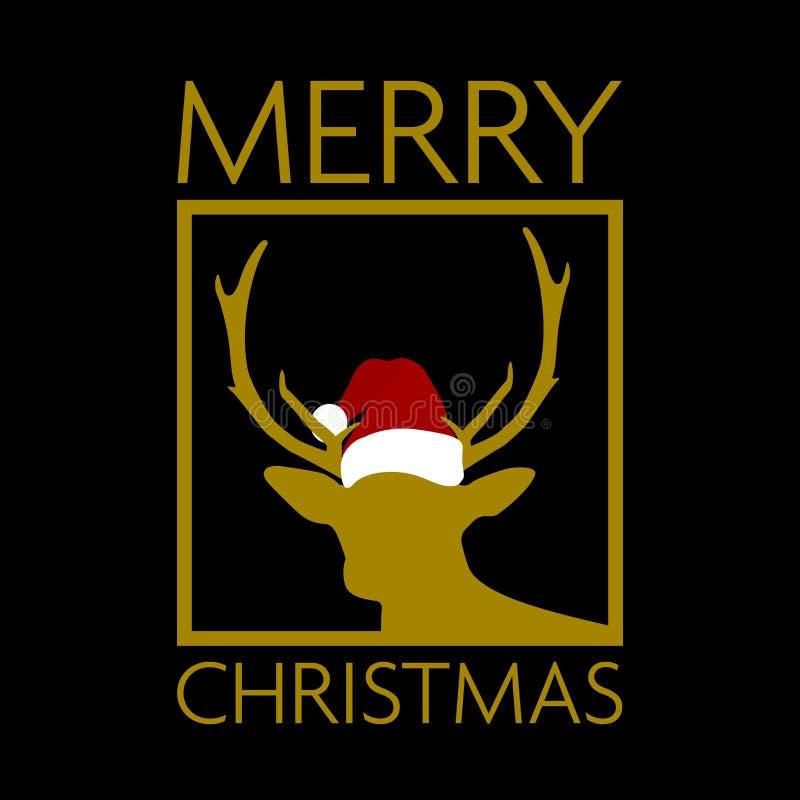 Preto e cartão de Natal do ouro com a silhueta da rena que veste o chapéu de Santa ilustração do vetor