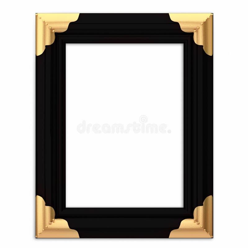 Preto e frame de retrato quadro ouro com trajeto ilustração do vetor