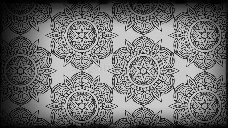Preto e fundo de Grey Vintage Decorative Floral Pattern ilustração royalty free