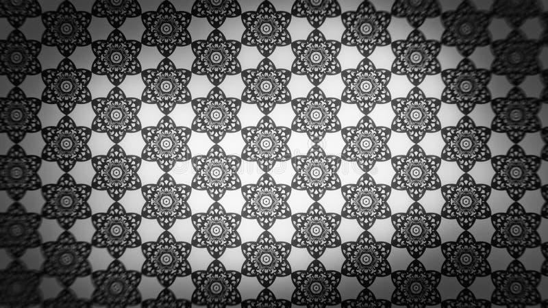 Preto e fundo elegante bonito do projeto da arte gráfica da ilustração de Grey Decorative Ornament Wallpaper Pattern ilustração do vetor