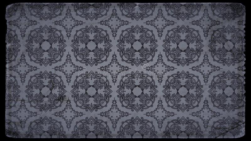 Preto e fundo elegante bonito do projeto da arte gráfica da ilustração do papel de parede de Grey Vintage Decorative Floral Patte ilustração stock