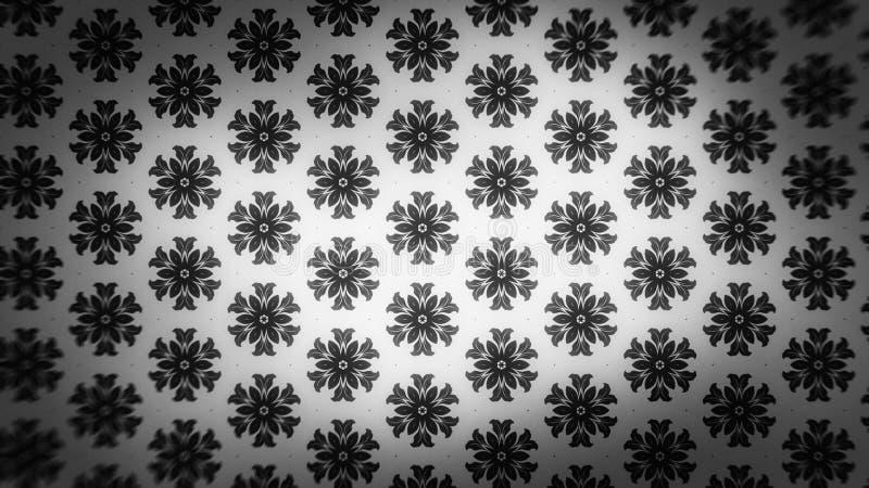 Preto e fundo elegante do projeto da arte gráfica da ilustração de Grey Floral Wallpaper Background Beautiful ilustração stock
