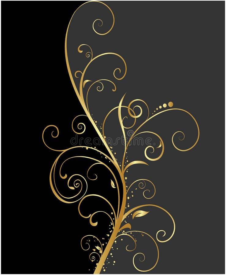 Preto e fundo floral do ouro ilustração do vetor