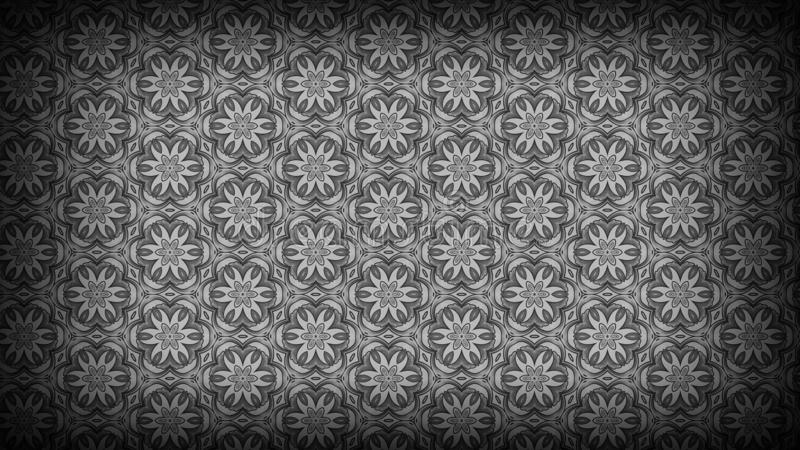 Preto e Grey Flower Background Pattern ilustração stock