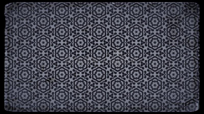 Preto e Grey Vintage Floral Pattern Background ilustração stock