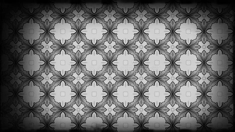 Preto e Grey Vintage Floral Pattern Wallpaper ilustração royalty free