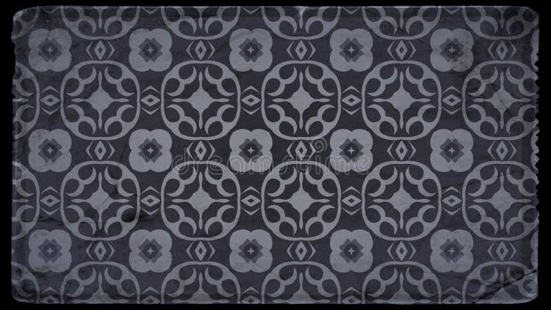 Preto e Grey Vintage Floral Wallpaper Background ilustração royalty free