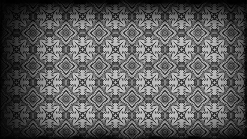Preto e Grey Vintage Floral Wallpaper Pattern ilustração stock