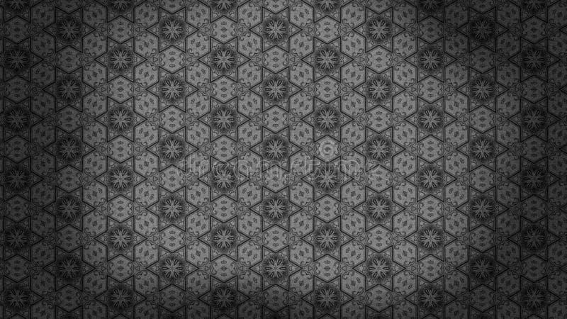 Preto e imagem de fundo de Gray Vintage Decorative Floral Pattern ilustração do vetor