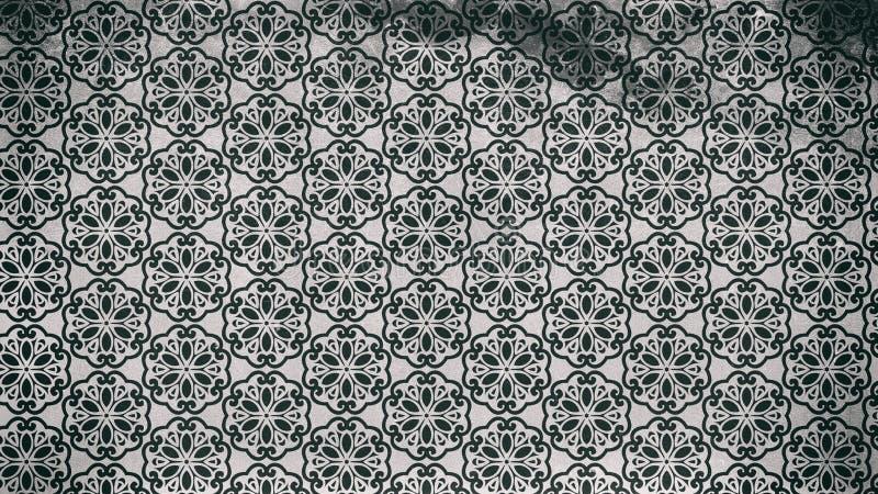 Preto e imagem de Gray Floral Vintage Pattern Background ilustração stock