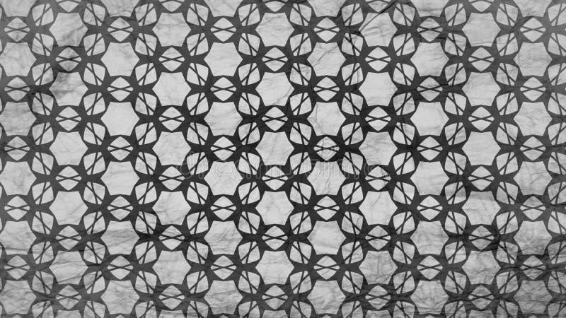 Preto e molde de Grey Floral Geometric Pattern Wallpaper ilustração do vetor