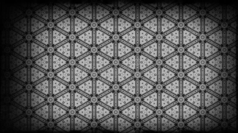 Preto e molde do projeto de Gray Vintage Floral Pattern Wallpaper ilustração royalty free