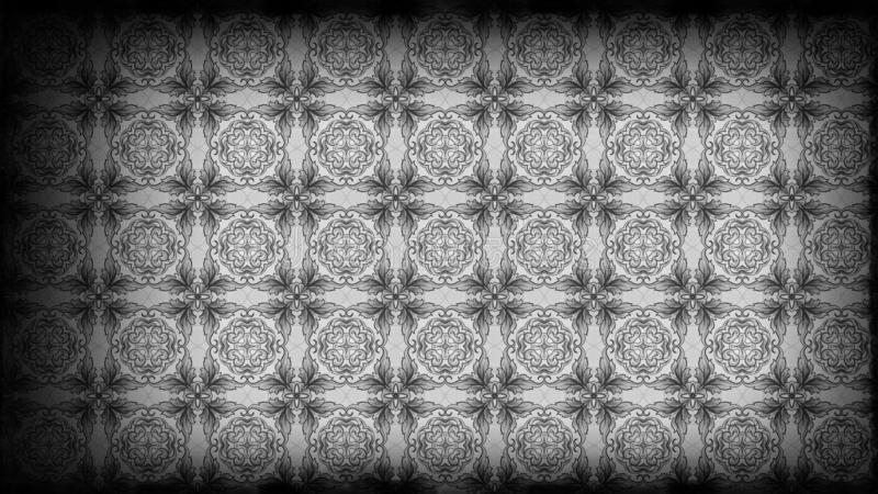 Preto e molde do teste padrão de Gray Vintage Floral Ornament Background ilustração stock