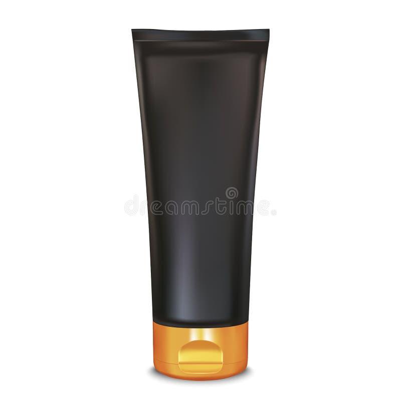 Preto e molde do tubo do creme da composição do ouro Modelo do produto dos cosméticos a ilustração do vetor 3d para o creme, ensa ilustração royalty free