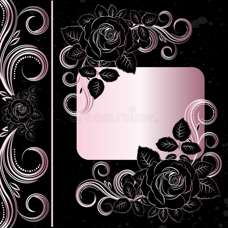 Preto e pálido - a cor-de-rosa floresce a decoração ilustração do vetor