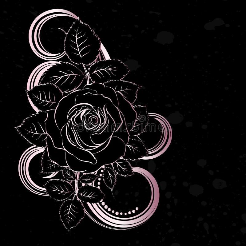 Preto e pálido - a cor-de-rosa floresce a decoração ilustração royalty free