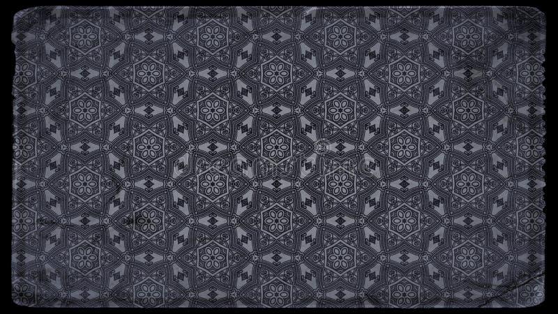 Preto e papel de parede de Grey Vintage Decorative Floral Pattern ilustração royalty free