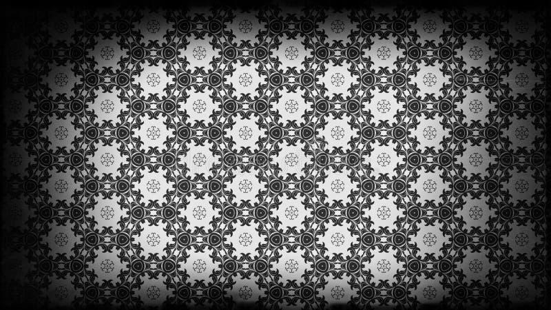 Preto e projeto do papel de parede de Gray Vintage Decorative Floral Pattern ilustração royalty free