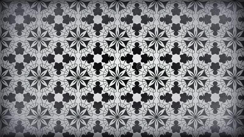 Preto e projeto do papel de parede de Gray Vintage Decorative Floral Pattern ilustração stock