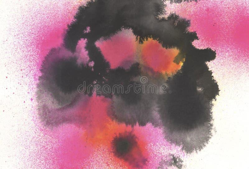 Preto e rosa da arte finala da aquarela de Digitas ilustração royalty free