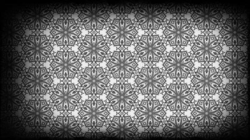 Preto e teste padrão de Grey Vintage Decorative Ornament Wallpaper ilustração royalty free