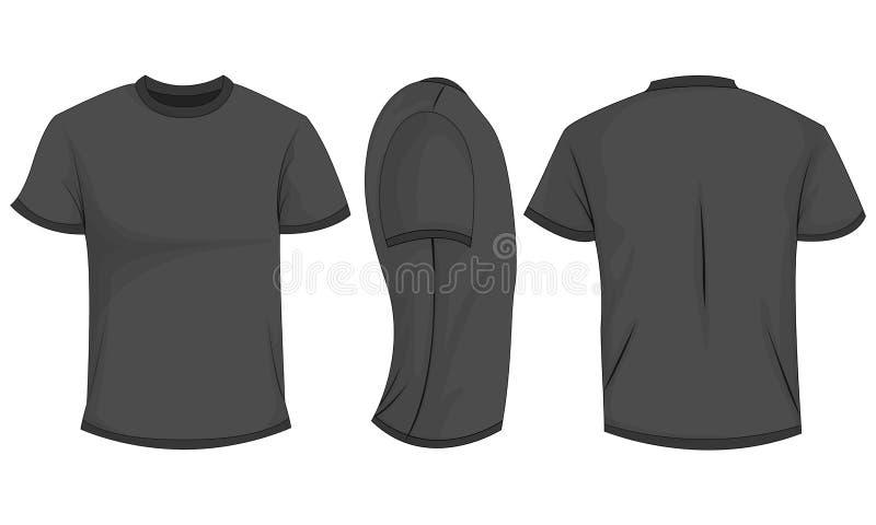 Preto/escuro - t-shirt cinzento dos homens com luvas curtos parte dianteira, parte traseira, vista lateral ilustração do vetor