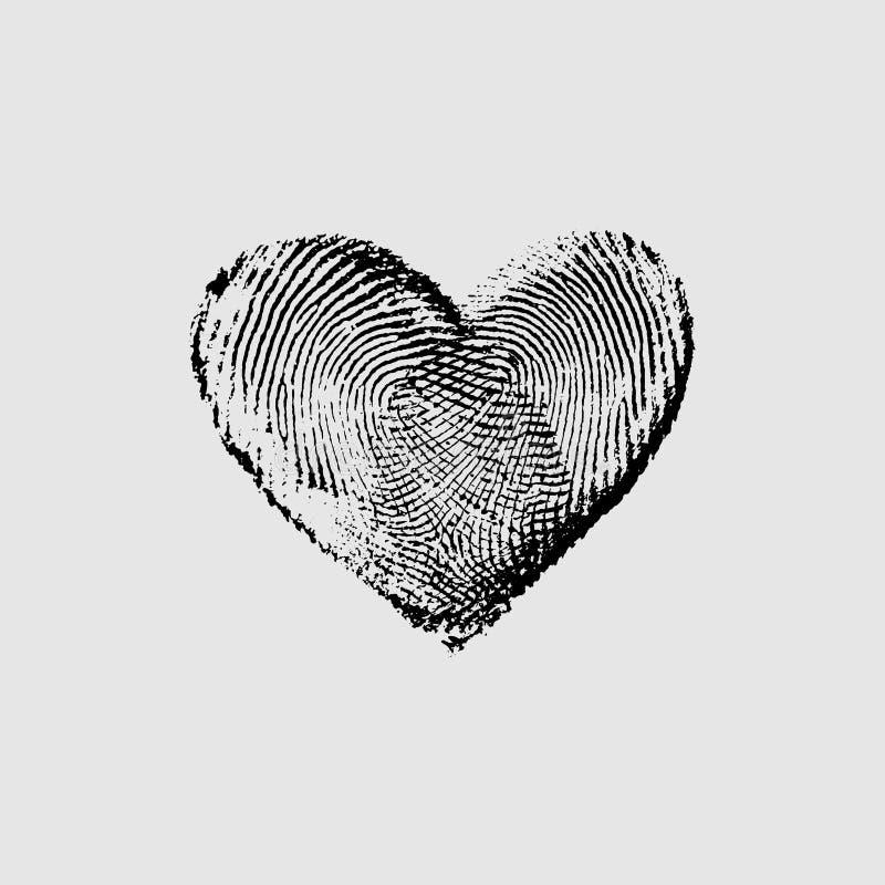 Preto IV do coração da impressão digital ilustração do vetor