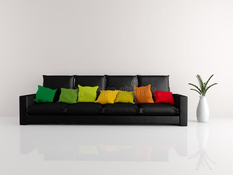 Preto minimalista do sofá ilustração stock
