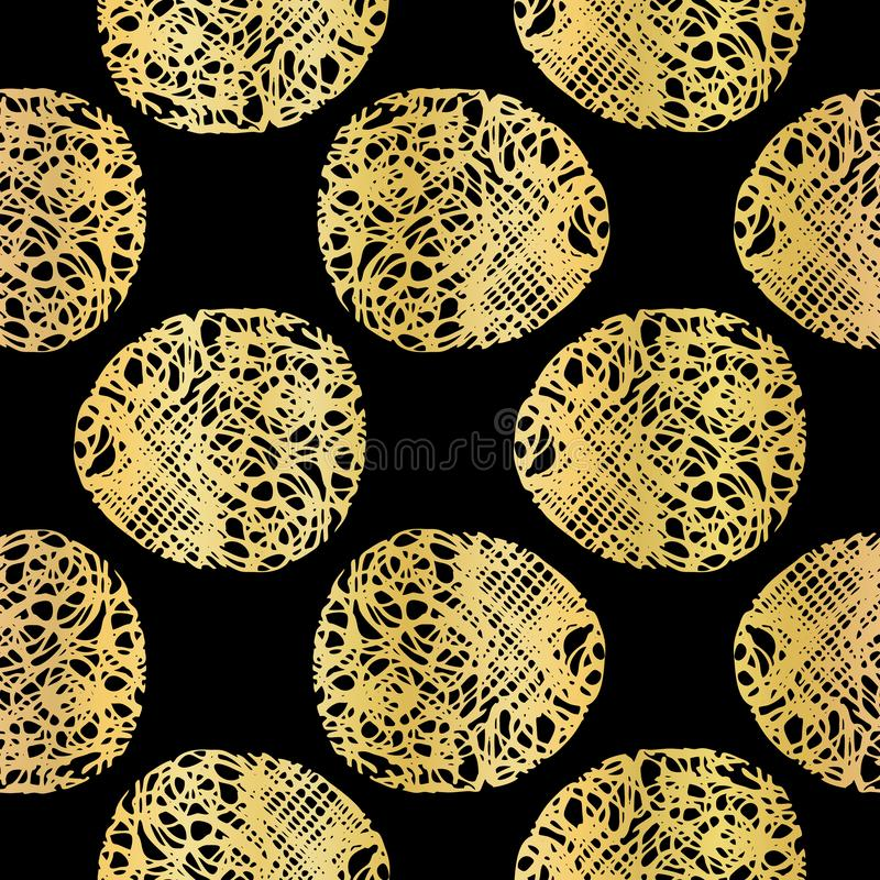 Preto na polca Dots Lace Pattern Seamless Vetora do ouro, metálico tirado ilustração stock