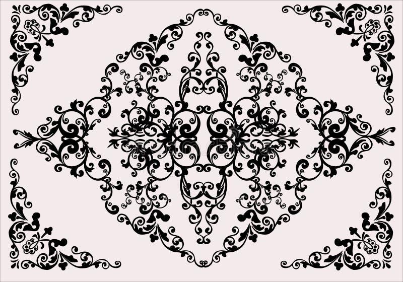 Preto no ornamento claro da flor do fundo ilustração stock