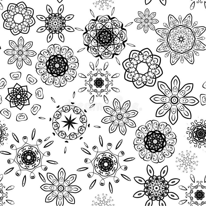 Preto no teste padrão floral sem emenda branco ilustração royalty free