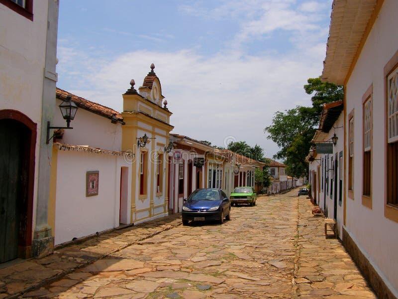 Ouro Preto, Бразилия 10-ое ноября 2016 Улица в известном исторических мин Gerais Ouro Preto городка стоковая фотография