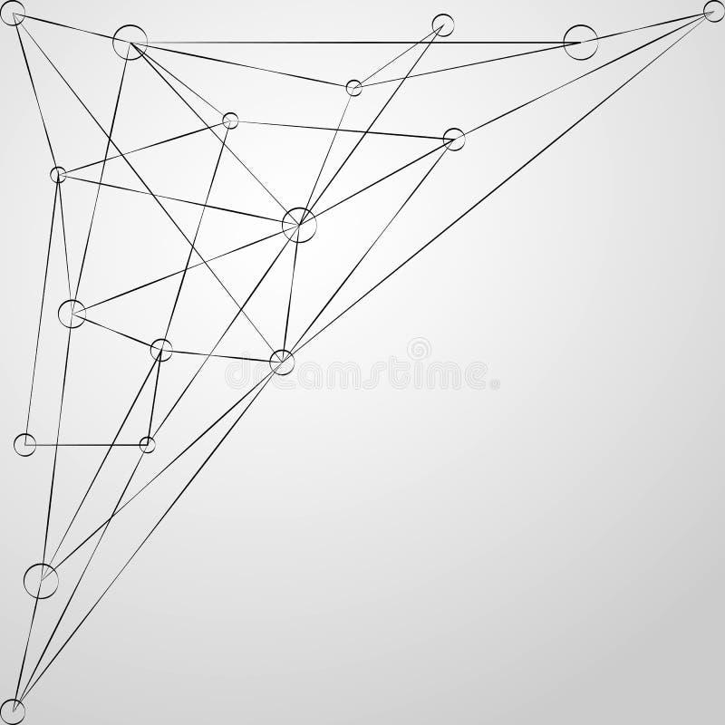 Preto poligonal abstrato com linhas e pontos Fundo digital futurista Vetor ilustração do vetor